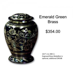 Emerald Green Brass Urn