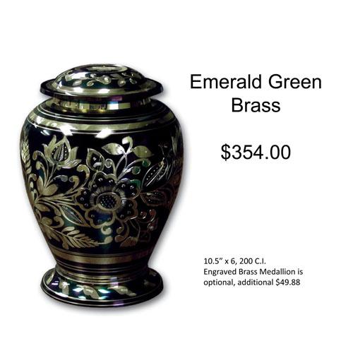 Emerald Green Brass Urn